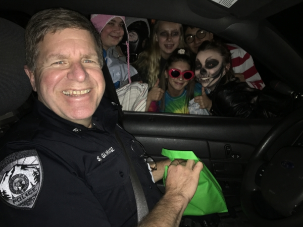 Officer Gamage on Halloween Safety Patrol
