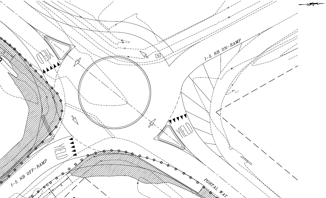 Preliminary compact roundabout design provided by Reichhardt & Ebe Engineering, Inc. Click to enlarge.
