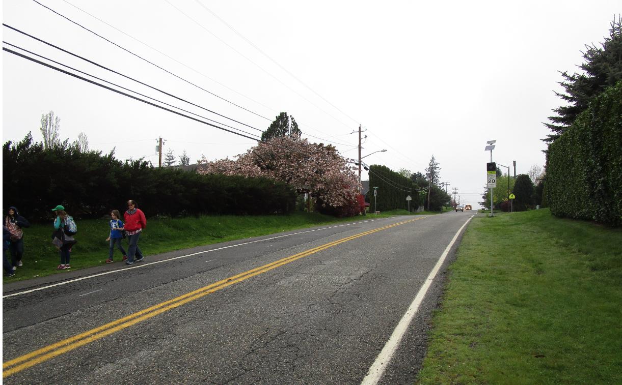 Lack of sidewalks creating a hazard for school children that walk to Skyline Elementary